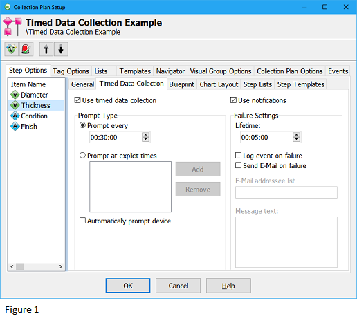 Collection Plan Properties Timed Data Collection Tab